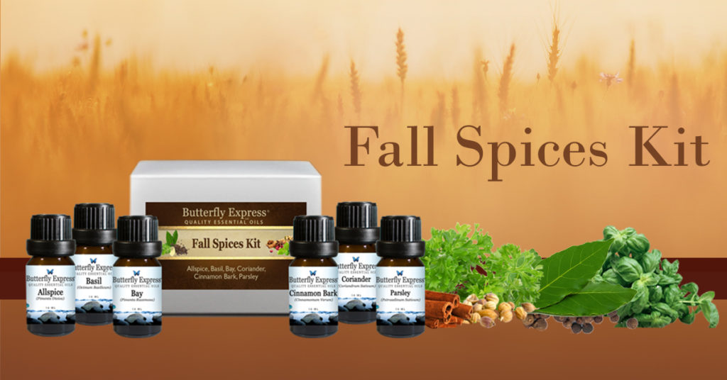This is the Fall Spice Kit from Butterfly Express! These spices have so many wonderful benefits you don't want to miss! November Special | Essential Oils | Butterfly Express | Allspice | Basil | Bay | Cinnamon Bark | Coriander | Parsley